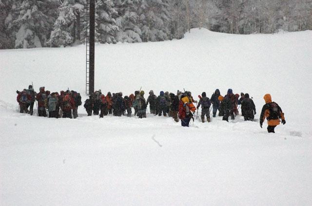 セミナー二日目は実技主体。ほとんどが屋外の厳寒下でのセミナーとなります